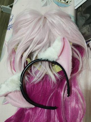 🚚 Cosplay pink hair and cat ears