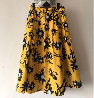 日本🇯🇵黃色棉麻大花裙