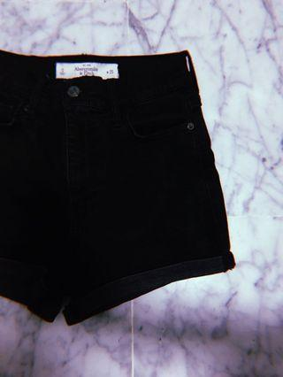 A&F High Waist Black Denim Shorts