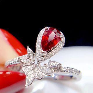 連証書18k紅寶石鑽石戒指