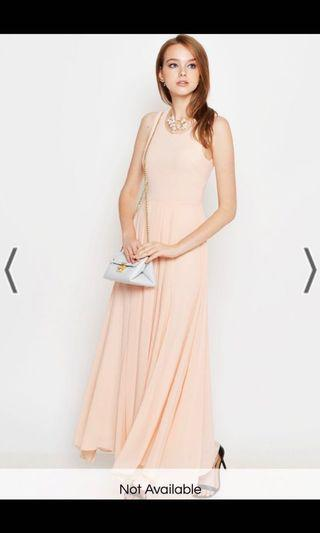 ADELAIDE PLEATED MAXI DRESS IN PEACH