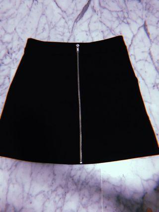 🚚 Black High Waist Zip Up Skirt
