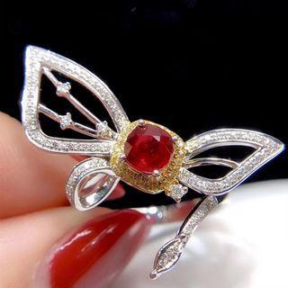國際証書18k無燒紅寶石鑽石戒指