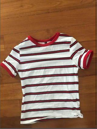 Red and white strip tee