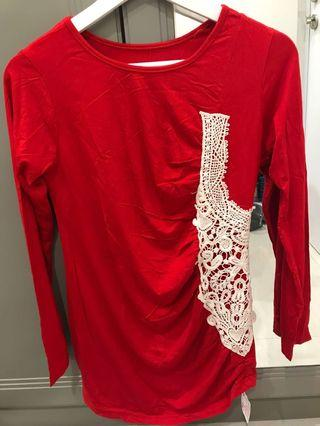 Red Brocade Top