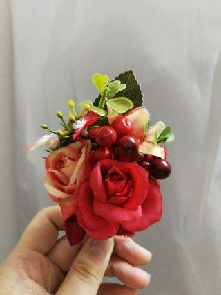 紅色胸花 結婚用品 共3個