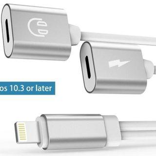 689) Dual Lighting Headphone Audio and Charge Adapter IPhone