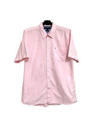 古著tommy粉紅色經典小logo短袖襯衫