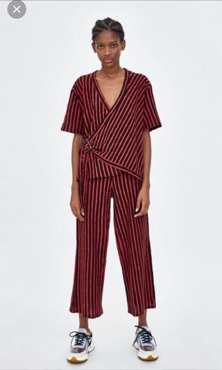 Zara Red-Black Wrap Top