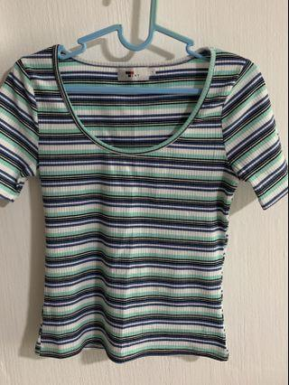 🚚 Blue ribbed multicolour top