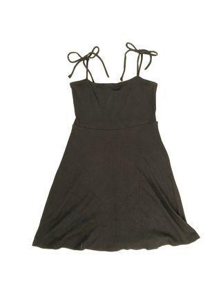 Black Ribbed Square Neck Mini Dress