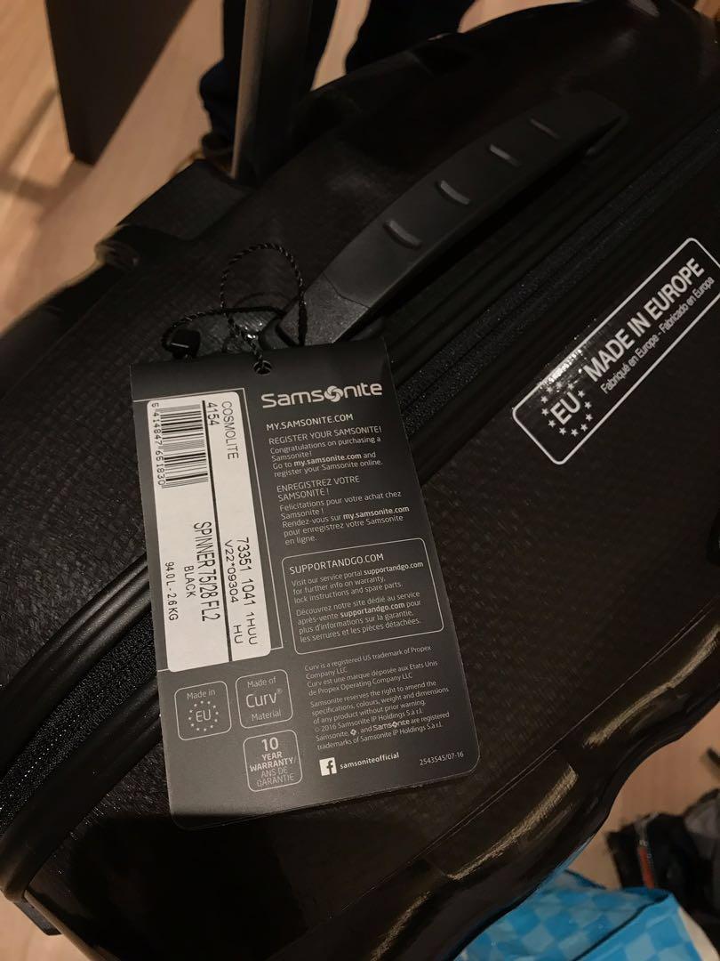 全新 Samsonite 28吋 黑色/銀色 有單 全球保用