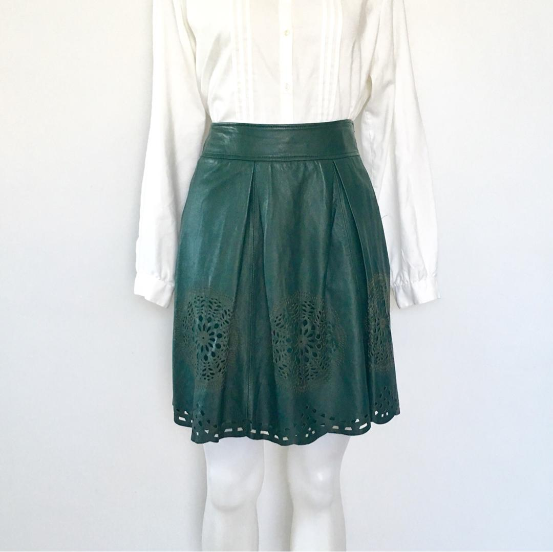 ALANNAH HILL FORREST GREEN SOFT LEATHER SKIRT