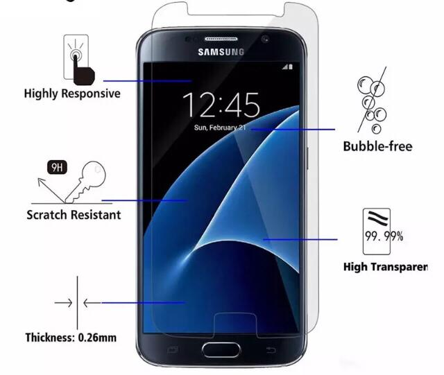 Glass Tempered or Plastic Film Glass Screen Protector for Samsung S7