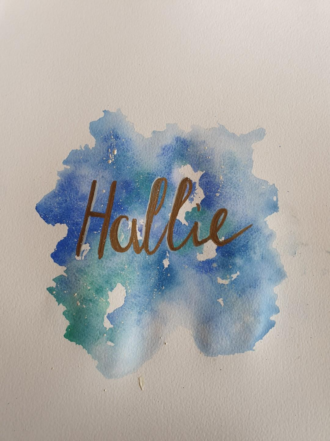 Handmade watercolour baby signs with gold paint pen/gold leaf