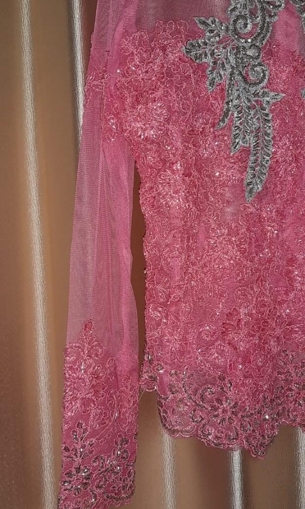 Kebaya Payet Luxury Modern - Silver Pink (Wisuda, Pernikahan, Tunangan)