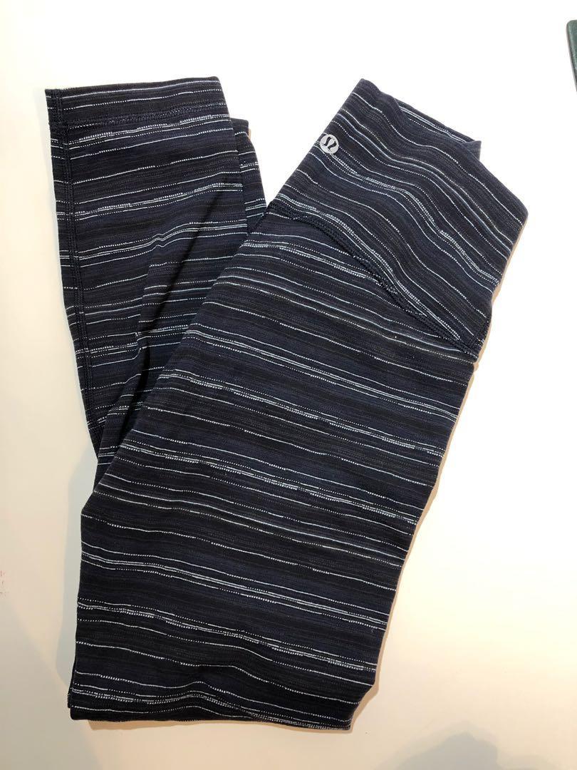 Lululemon Size 6 Wunder Under Tights - Blue Stripe