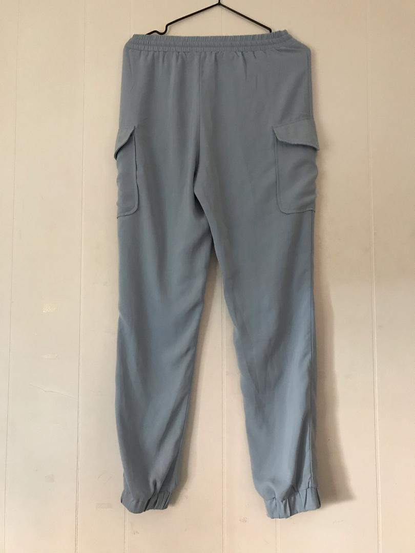 Missguided Sky Blue Lightweight Tie Waist String Joggers with Pockets