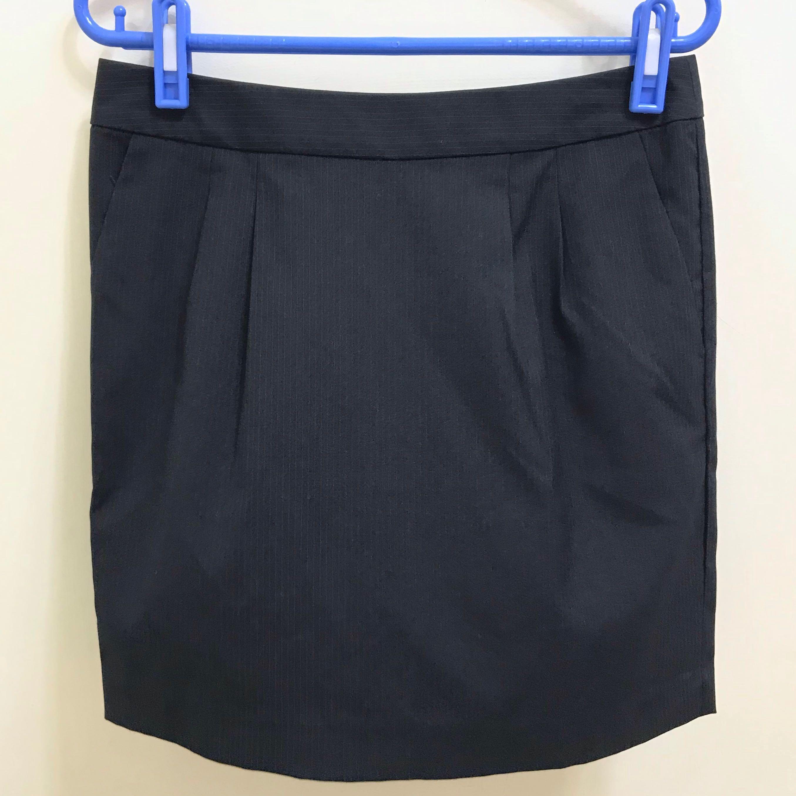 全新Net 上班族 面試 黑色細條紋窄裙 A字裙
