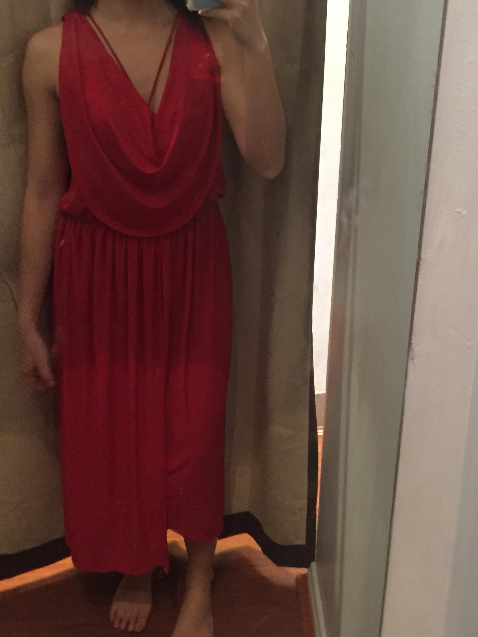 NEW red cowl neck maxi formal dress with side split