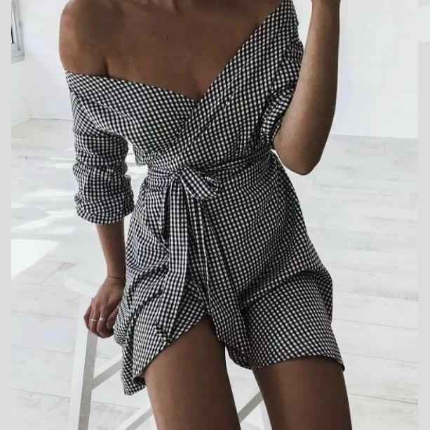 NWT sz S/M/L (AU8/10/12) black white gingham wrap dress puff sleeves casual party cocktail