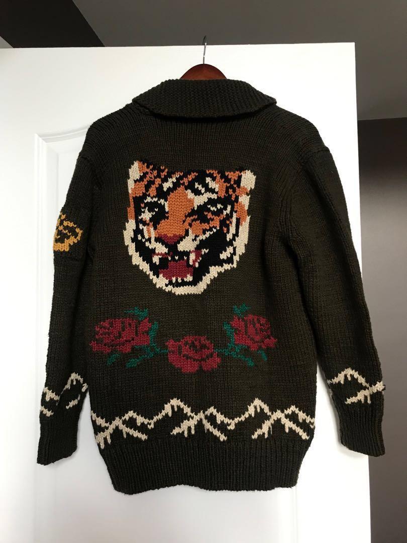 POLO Ralph Lauren Small Green Tiger Knit Sweater/Cardigan