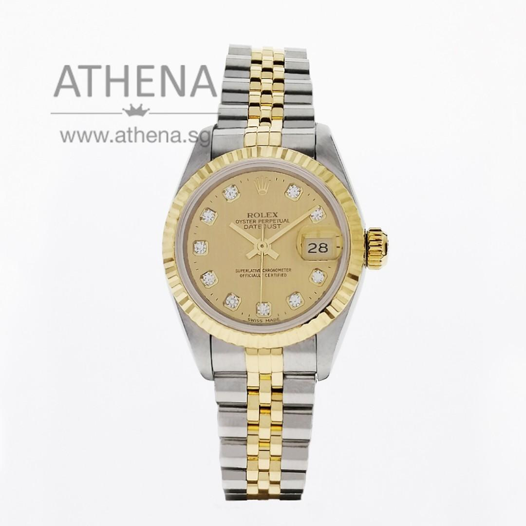 "ROLEX ""HALF-GOLD"" OYSTER PERPETUAL LADIES DATEJUST ""S"" SERIES ""CHAMPAGNE DIAMOND DIAL"" 69173 JWWRL_1353"