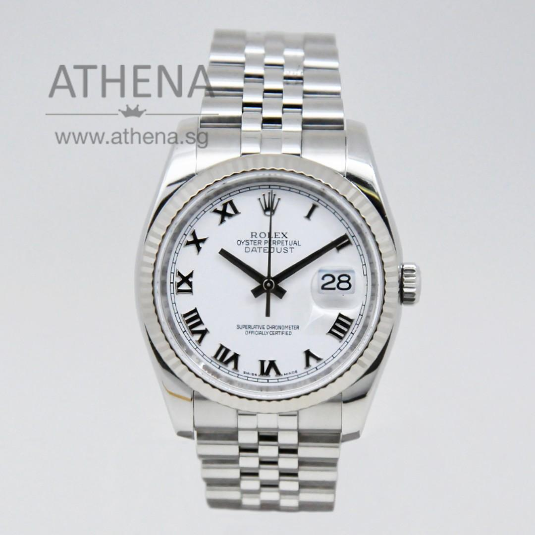"ROLEX MENS OYSTER PERPETUAL DATEJUST ""M"" SERIES ""WHITE ROMAN DIAL"" WITH CHAPTER RING 116234 JGWRL_966"