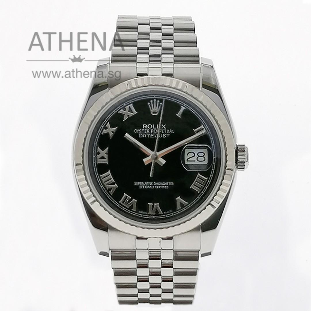 "ROLEX MENS OYSTER PERPETUAL DATEJUST ""Z"" SERIES ""BLACK ROMAN DIAL"" WITH CHAPTER RING 116234 JGWRL_965"