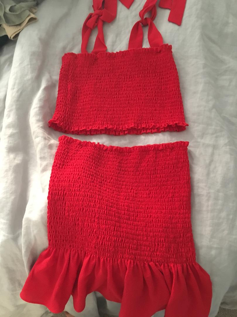 SHOWPO RED MATCHING COORD SET SIZE 8 $15 OR $10 EACH
