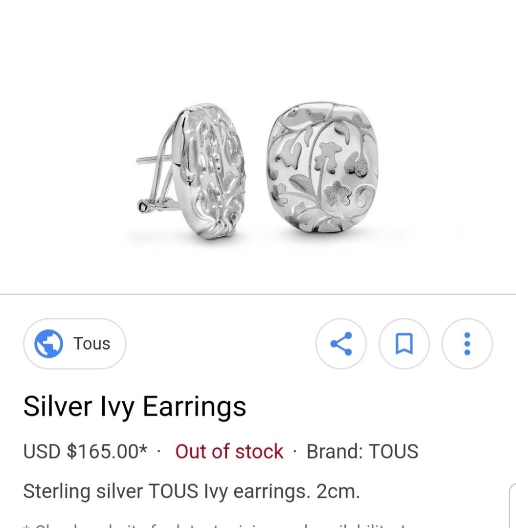 TOUS Silver Ivy Stud Earrings