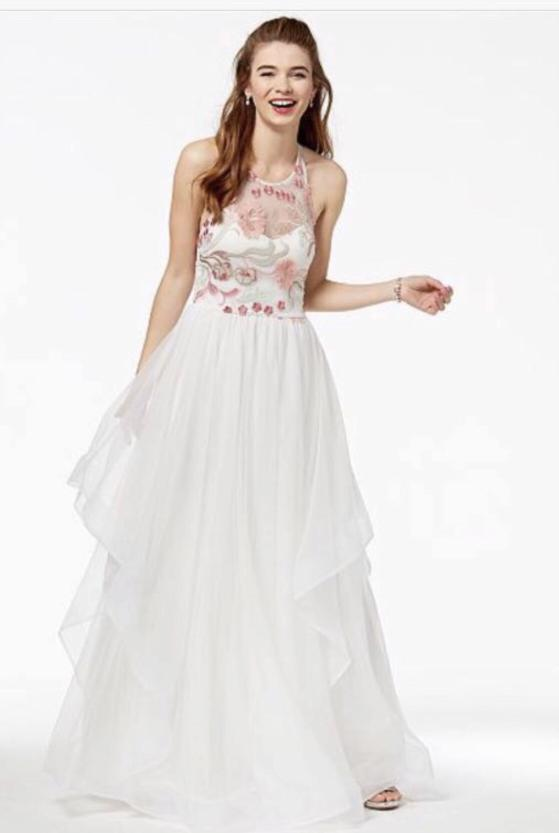 White Sequins Heart Embroidered Mash Halter Gown
