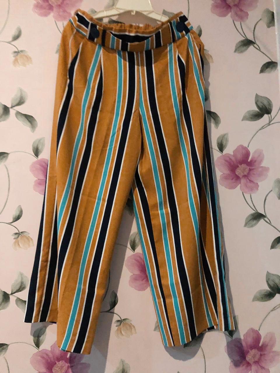 Zara TRF Mustard Striped Wide Leg Culotte Pants