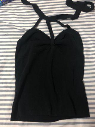 性感綁帶黑上衣