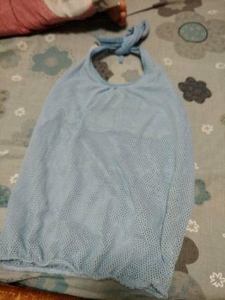 藍色洞洞綁帶上衣