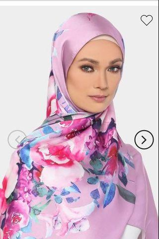Tudung people Mawar Printed Shawl In Deep Pink