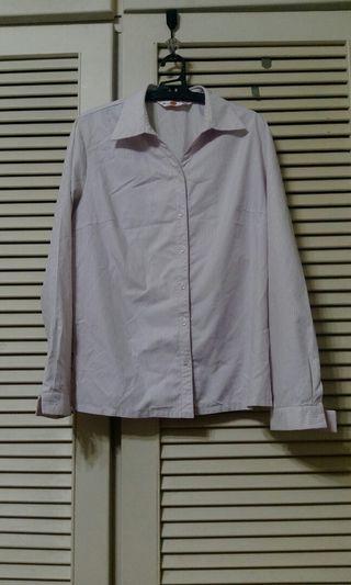 上班族粉色線條長袖制服