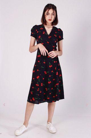 🆕 Navy Cherry Midi Wrap Dress