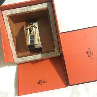 Authentic Hermes Kelly Watch Navy blue lizard pattern leather strap 90%new
