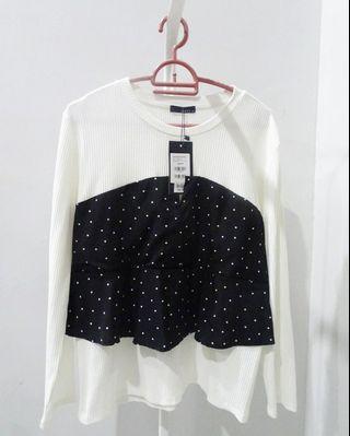 Ladies Black & White Crop Top