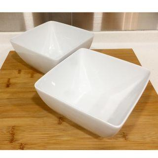 Large! PORCELAIN (Royal Thai) Square Bowls in White (Set Of 2)
