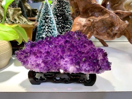 烏拉圭紫晶簇 送木座