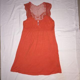 Rue 21 Forever 21 Orange Midi Dress
