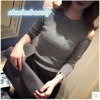Knitted Round neck Long sleeve top in GREY