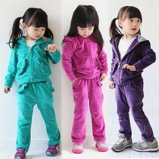 🚚 BNWT Girls Velvet Hoodie and Pants Set (Purple, Size 110)