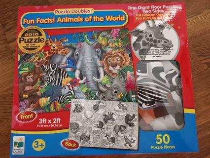 Animals double sided puzzle large