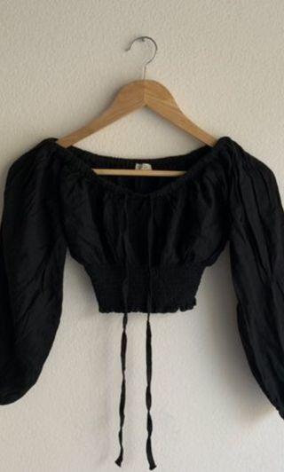 Brandy Black Marilyn Long sleeve off shoulder stretchable top