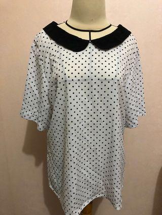 Baju big size , atasan polka , blouse big size