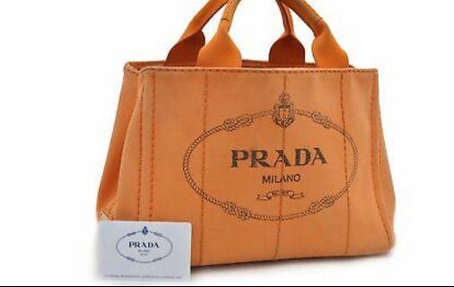 100% Authentic PRADA Canapa Canvas Hand Bag Orange