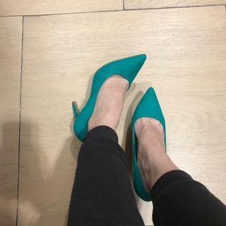 Green heels pointy high heels/mirip Louboutin or sappun